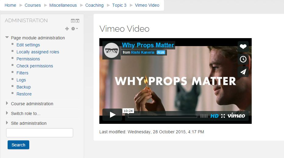 Vimeo video in Moodle