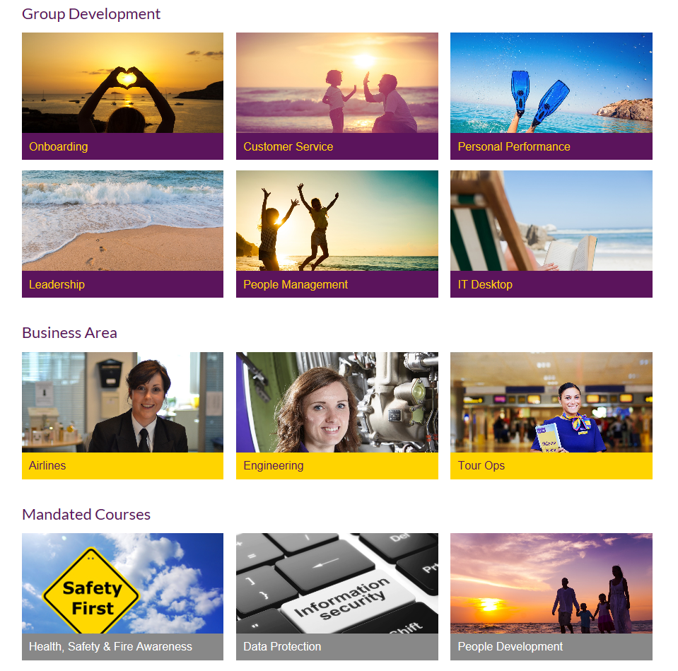 A range of Quicklinks created for Monarch's front page - which can be customised as and when they require.