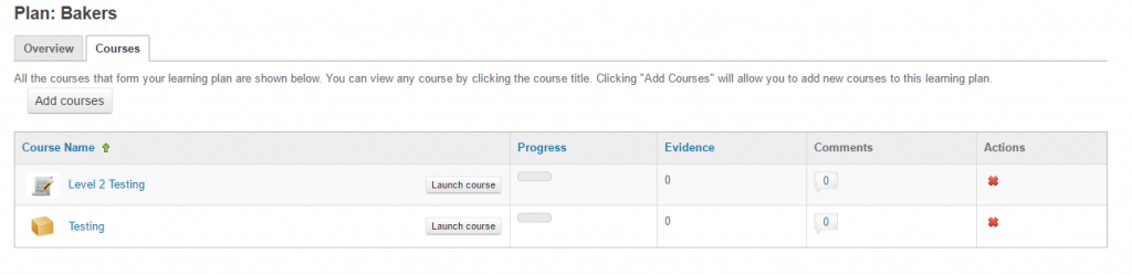 Add courses to learning plan in Totara