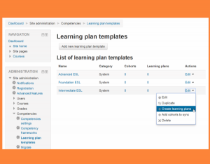 Learning plan templates