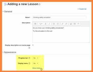 Lesson default settings