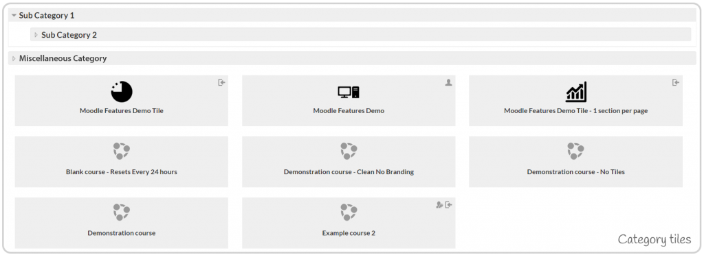 Category Tiles Example Moodle Theme