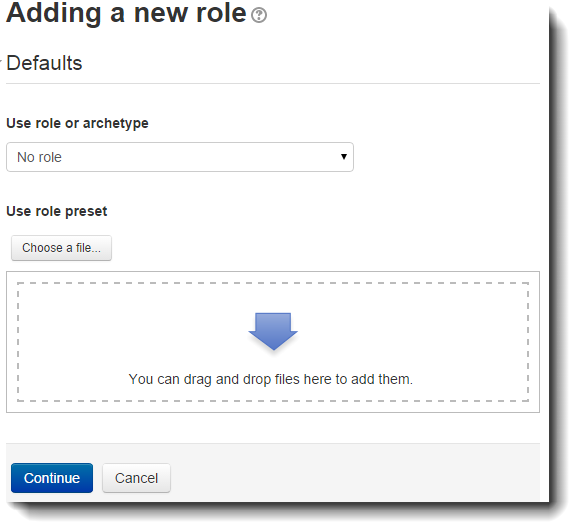 Adding a new role page