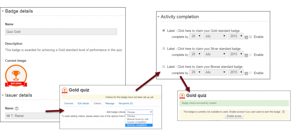 Configure badges in Moodle