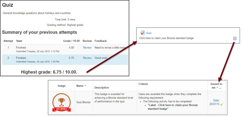 Moodle badges example