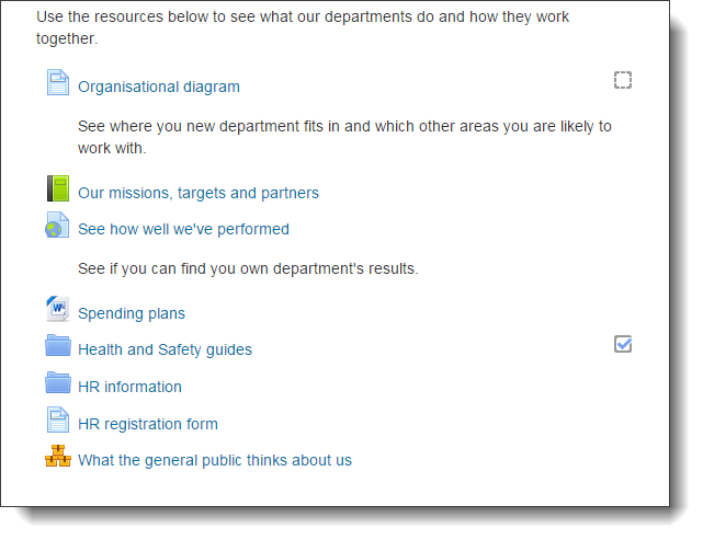Moodle activity links that do not use graphic course tiles