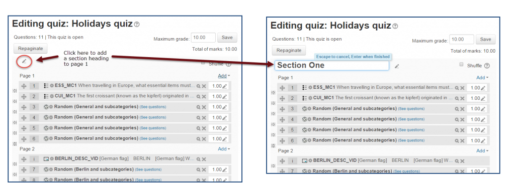 Headings for Moodle quiz pages