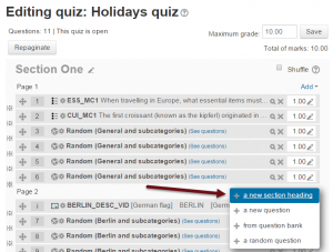 Section headings for Moodle quiz pages