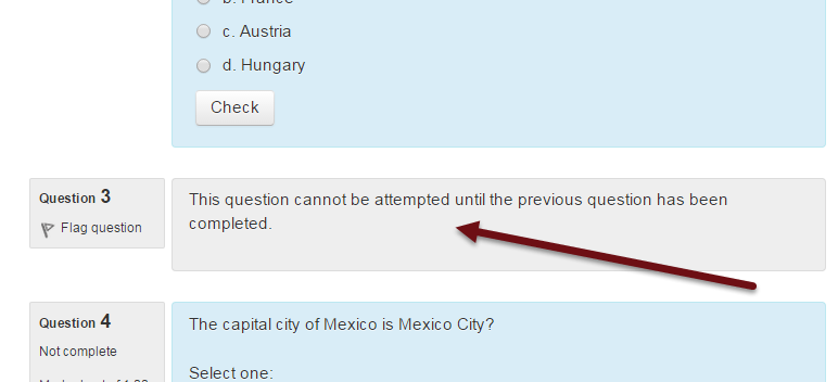 Moodle 2.9 conditional questions student view