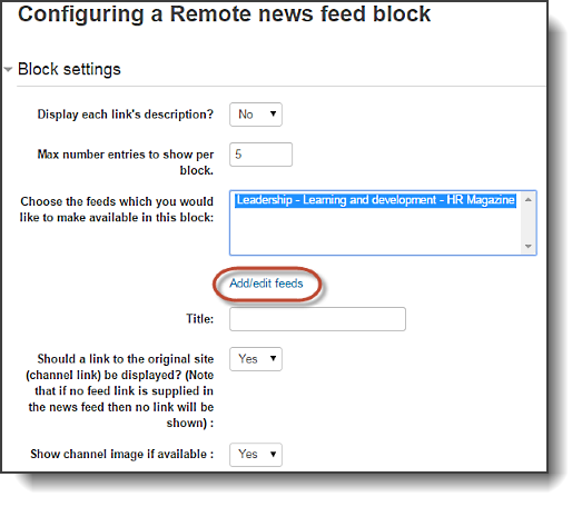 Configuring RSS block