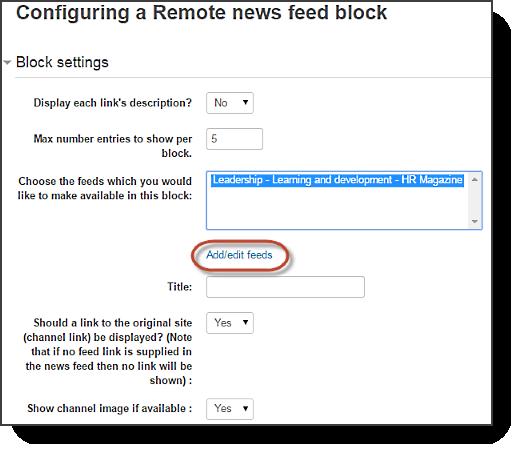 Configuring RSS block
