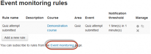 Event monitoring rules page
