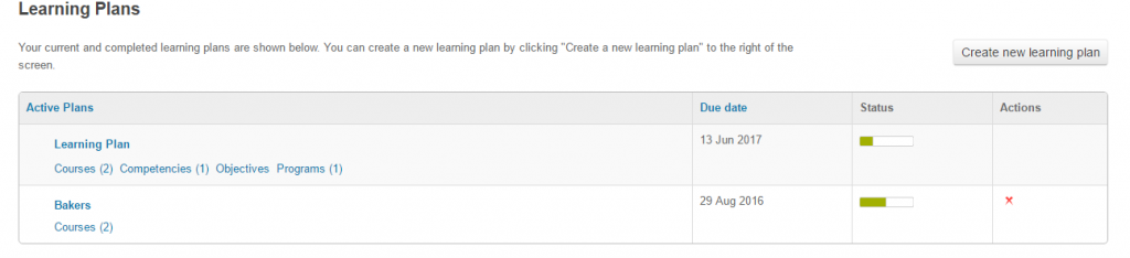 Learner track progress of learning plan in Totara LMS