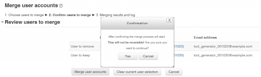 Merge Users Confirmation
