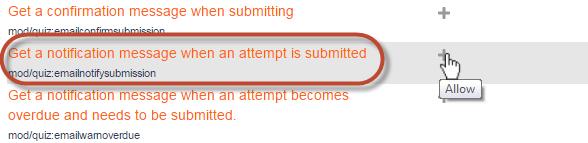 Quiz notification capability