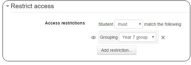 Restricting access in Moodle