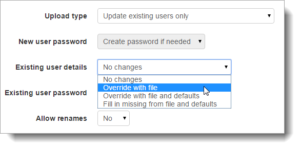 Using upload users to change user details