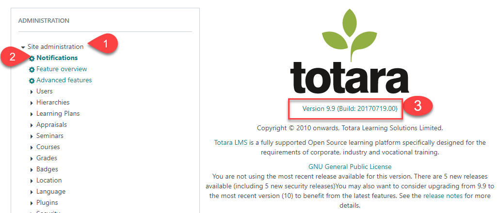 How to check your current version of Totara Learn for GDPR   HowToMoodle