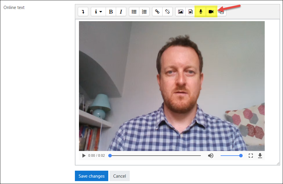 Record video and audio via Moodle